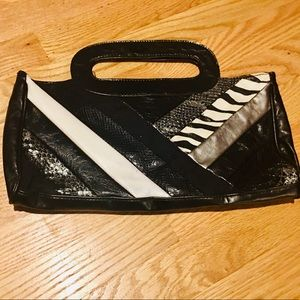 Vintage Black Zebra Leather 80s Clutch